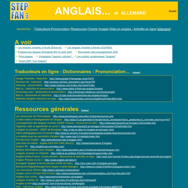 Les langues, Anglais, Allemand à l'école primaire : sites de ressources, fiches ...