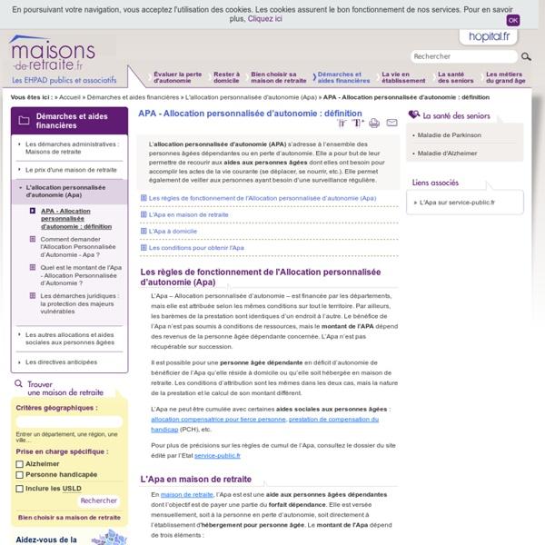 APA - Allocation personnalisée d'autonomie : définition