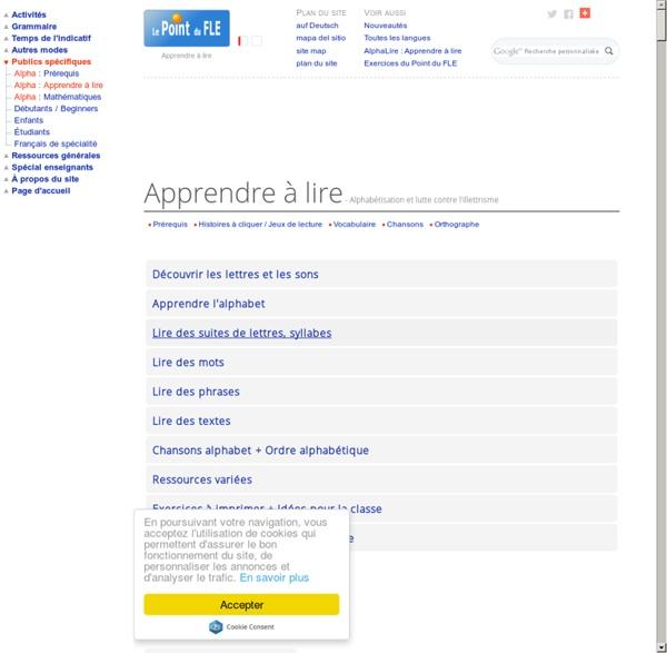 Apprendre à lire - Alphabétisation et lutte contre l'illettrisme - Formation de base Français