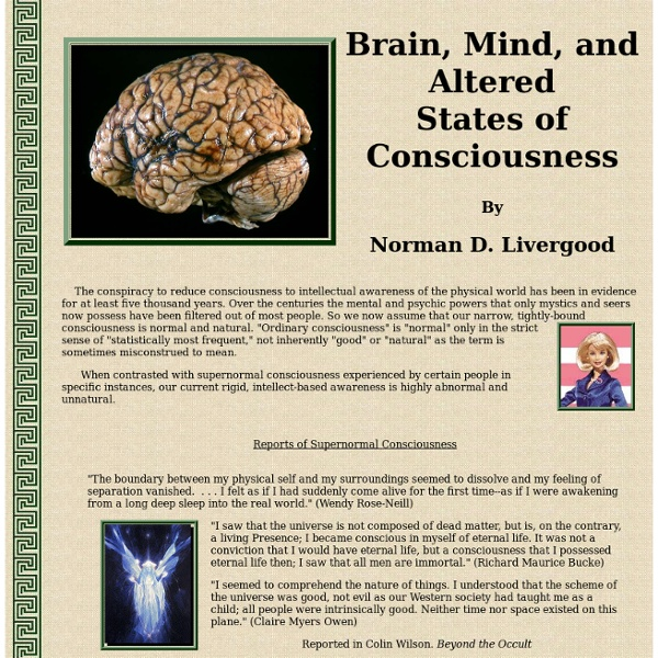 Brain, Mind, and Altered States of Consciousness | Pearltrees