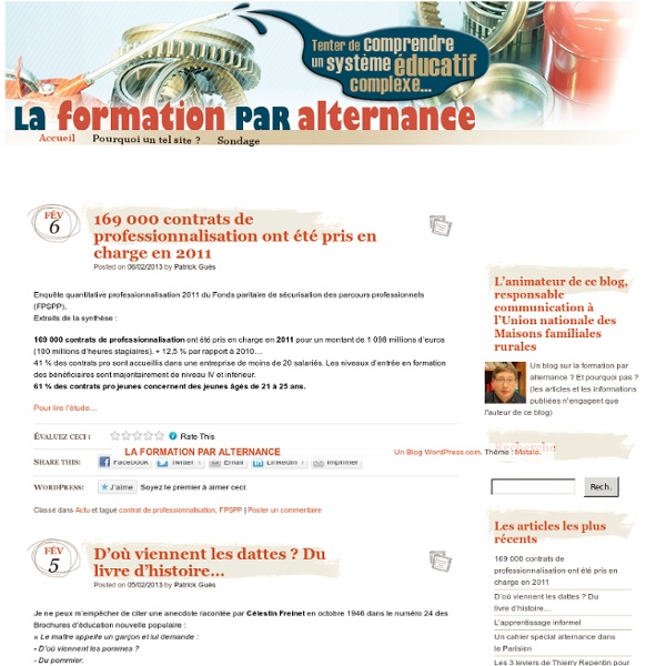 LA FORMATION PAR ALTERNANCE