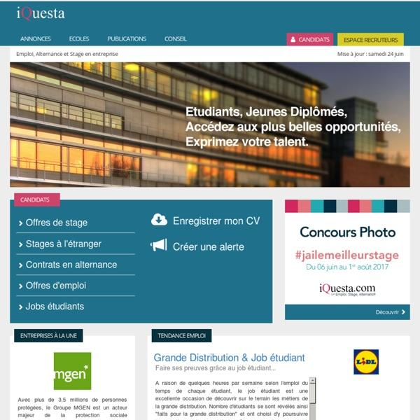 iQuesta - Offres de Stage, d'Emploi, de Job Stages, Alternance, Emploi débutant & Jobs étudiants