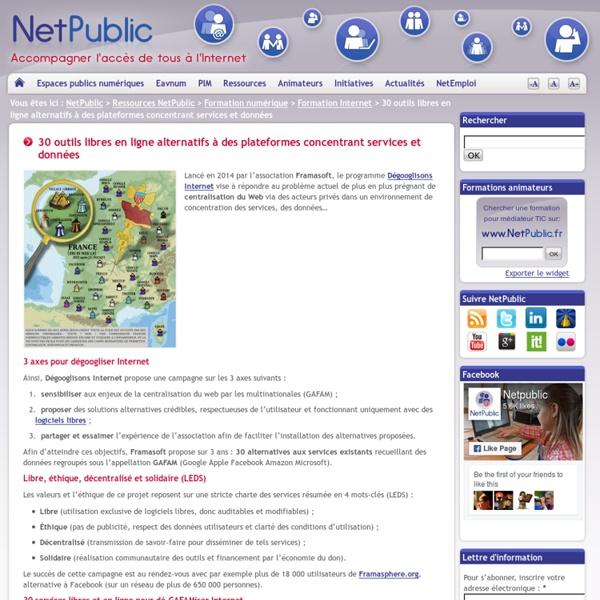 30 outils libres en ligne alternatifs à des plateformes concentrant services et données