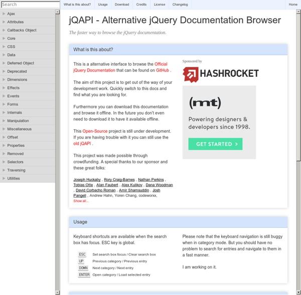 jQAPI - Alternative jQuery Documentation Browser