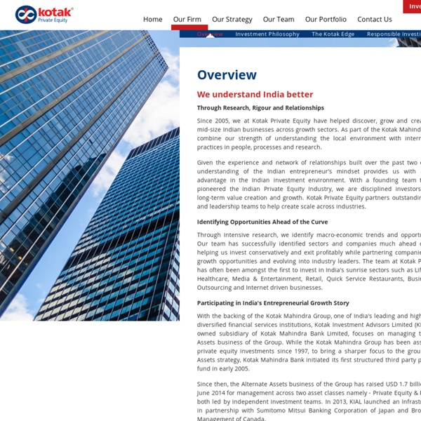 PE Firms in India - Kotak Private Equity