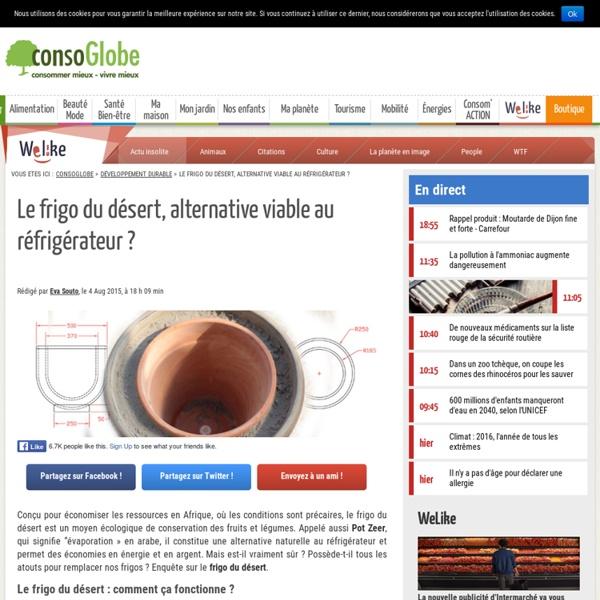 Le frigo du désert, une alternative écologique viable au réfrigérateur ?