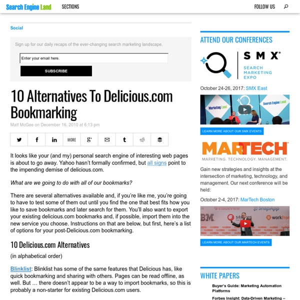 10 Alternatives To Delicious.com Bookmarking