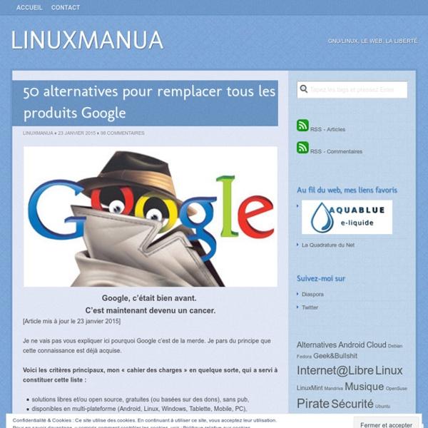 50 alternatives pour remplacer tous les produits Google