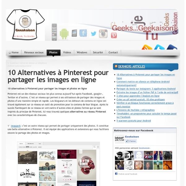 10 Alternatives à Pinterest pour partager les images en ligne
