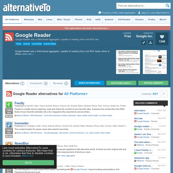 Google Reader Alternatives and Similar Software