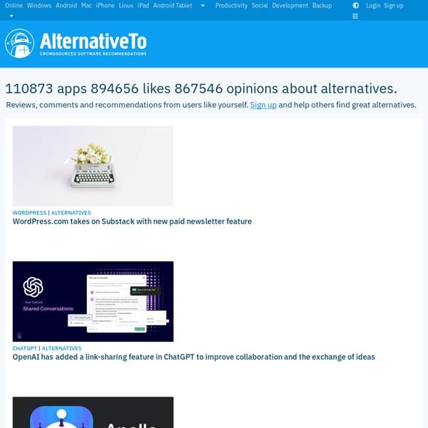 AlternativeTo - Social Software Recommendations