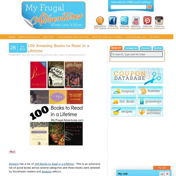 100 Amazing Books to Read in a Lifetime - My Frugal Adventures