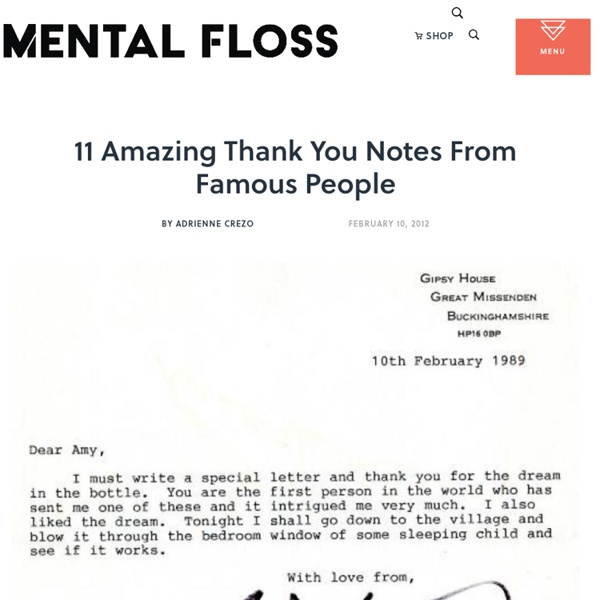 11 Amazing Thank You Notes From Famous People