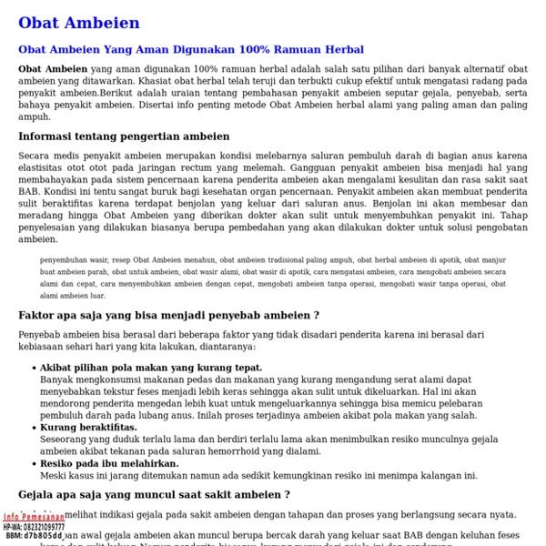 Obat Ambeien Yang Aman Digunakan 100% Ramuan Herbal
