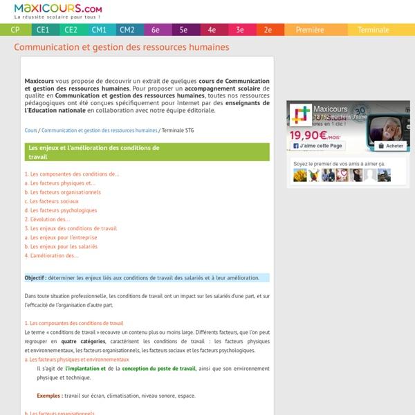 Les enjeux et l'amélioration des conditions de travail, Soutien scolaire, Cours Communication et gestion des ressources humaines, Maxicours