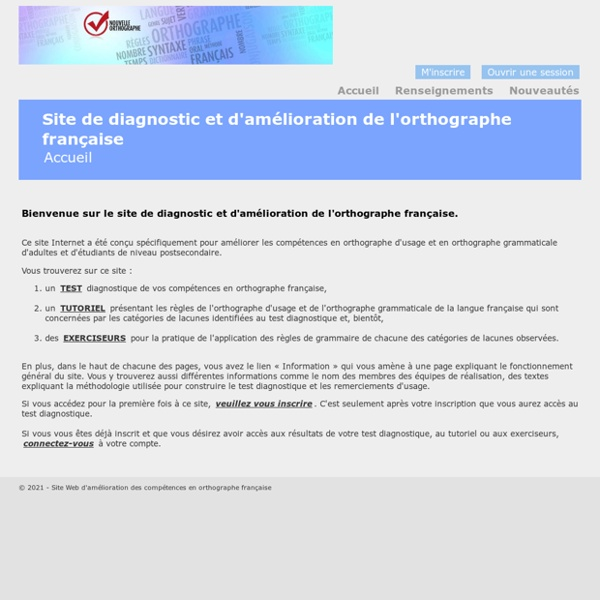 Site de diagnostic et d'amélioration de l'orthographe française - Canevas général du site Web