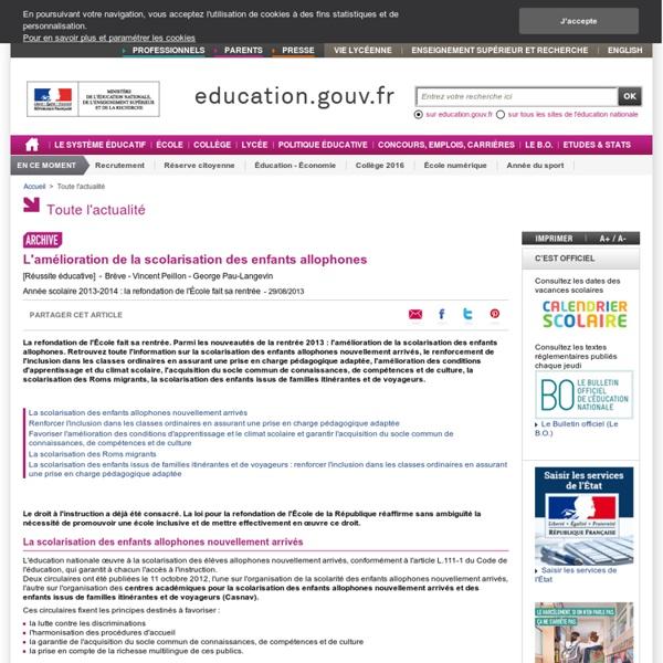 2013-2014 : amélioration de la scolarisation des enfants allophones