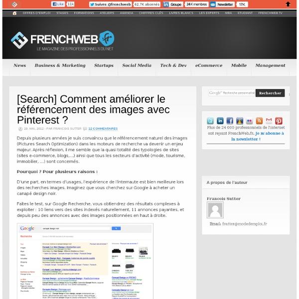 [Search] Comment améliorer le référencement des images avec Pinterest ? - FrenchWeb.fr