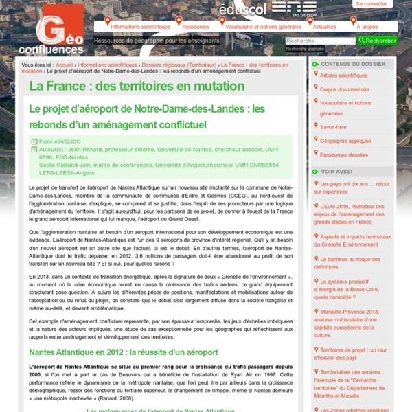 Le projet d'aéroport de Notre-Dame-des-Landes : les rebonds d'un aménagement conflictuel