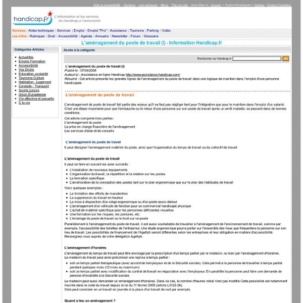 L'aménagement du poste de travail (I)