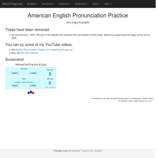 American English Pronunciation Practice (For ESL/EFL)