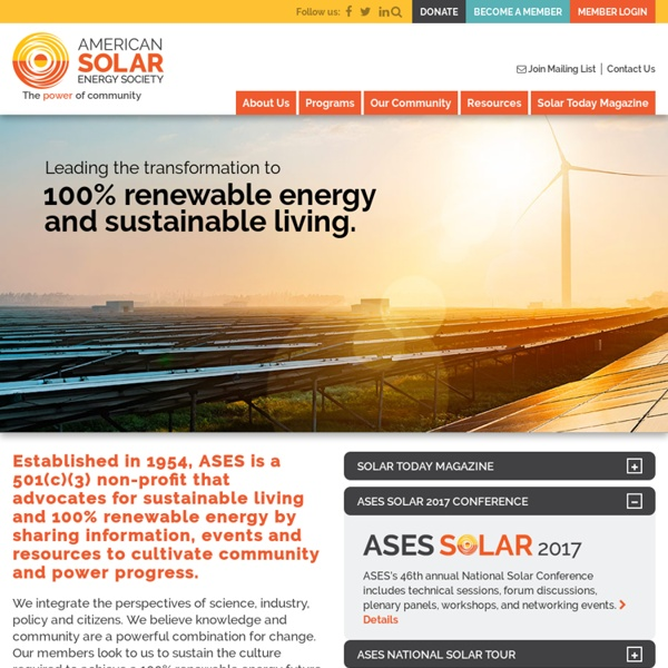 The American Solar Energy Society, Leading the Renewable Energy Revolution