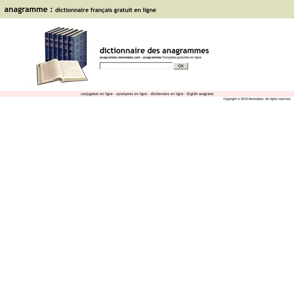 Anagrammes français gratuit en ligne