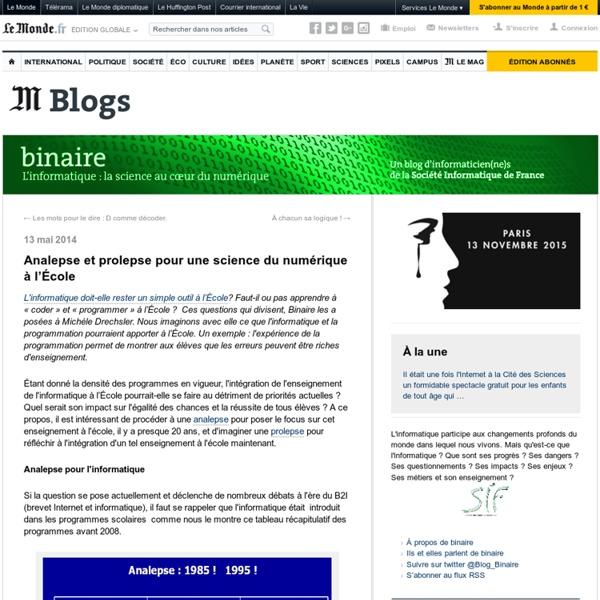 Oct. 2015 Analepse et prolepse pour une science du numérique à l'École