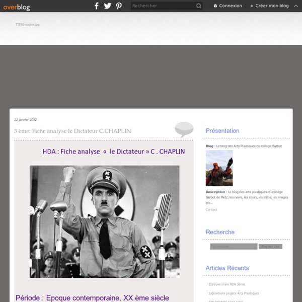 3 ème: Fiche analyse le Dictateur C.CHAPLIN - Le blog des Arts Plastiques du college Barbot