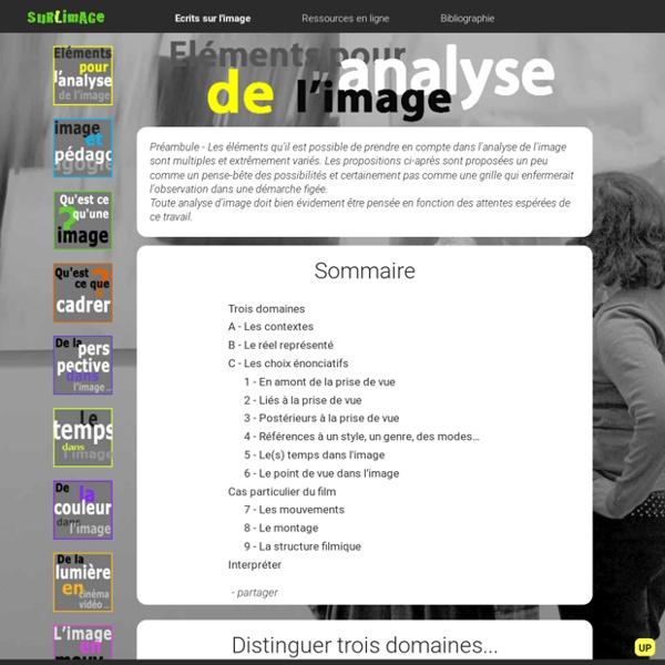 Eléments pour l'analyse de l'image