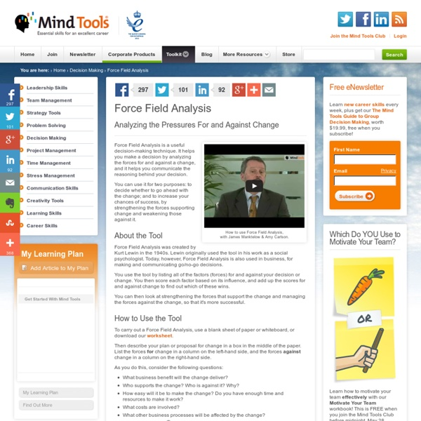 Force Field Analysis - Decision-Making Skills From Mindtools