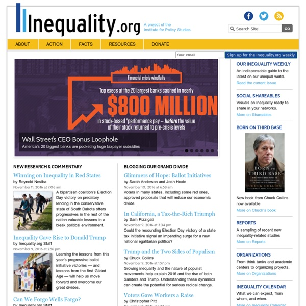 News, Data & Statistics on Income, Health, Social Inequality