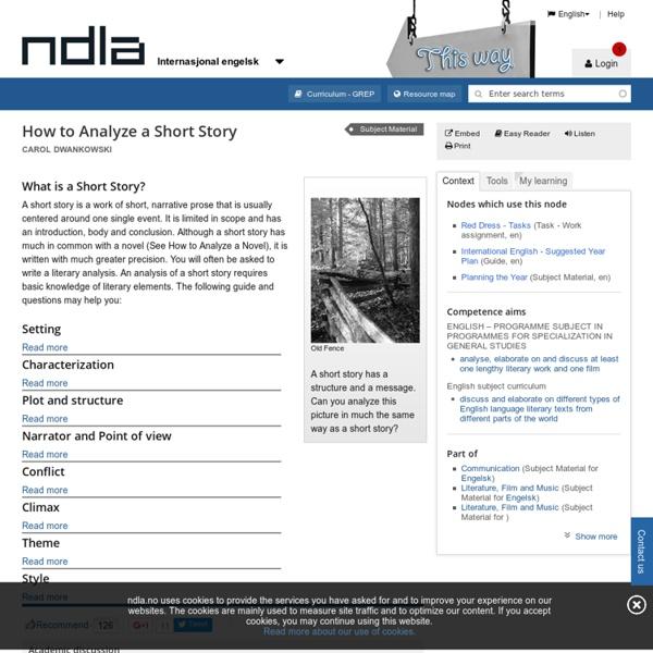 How to Analyze a Short Story - Internasjonal engelsk