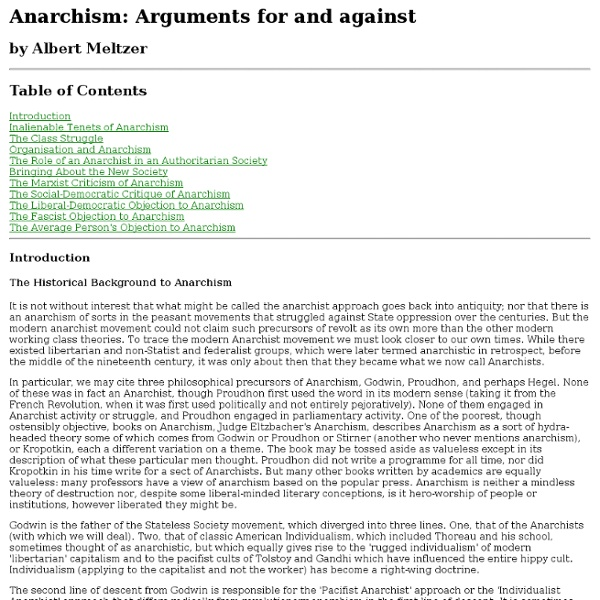 anarchism arguments for against meltzer 1 Anarchism: arguments for and against [albert meltzer] on amazoncom free shipping on qualifying offers this is the second revised edition of anarchism: arguments for and against and was the edition that albert meltzer was working on at the time of his death on may 7th.