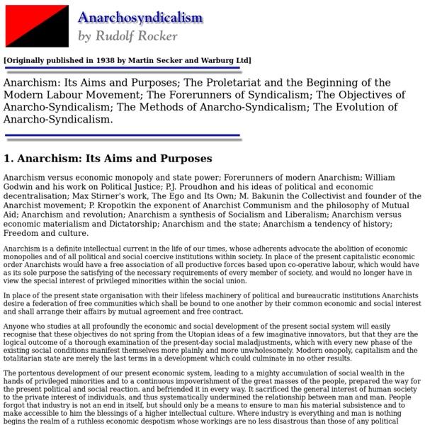 Anarchosyndicalism by Rudolf Rocker - Chapter 1