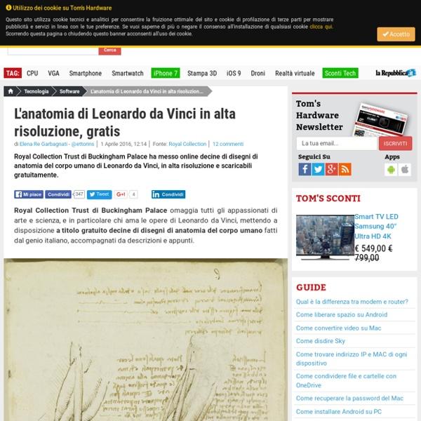 L'anatomia di Leonardo da Vinci in alta risoluzione, gratis