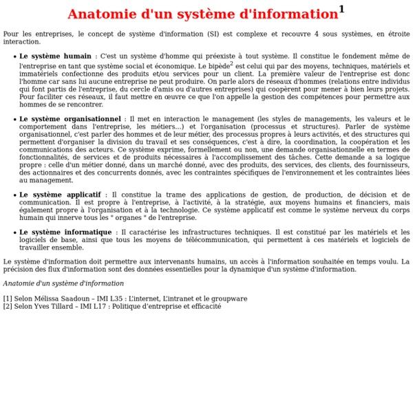 Anatomie d'un système d'information