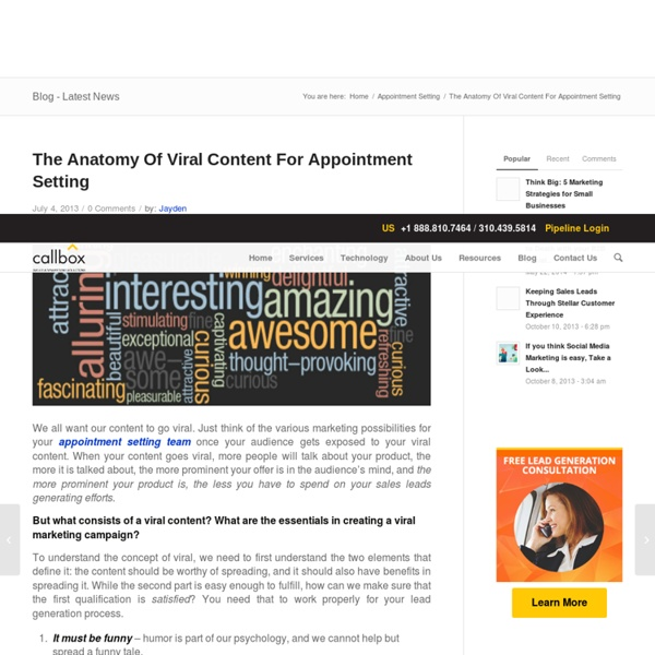 The Anatomy Of Viral Content For Appointment Setting