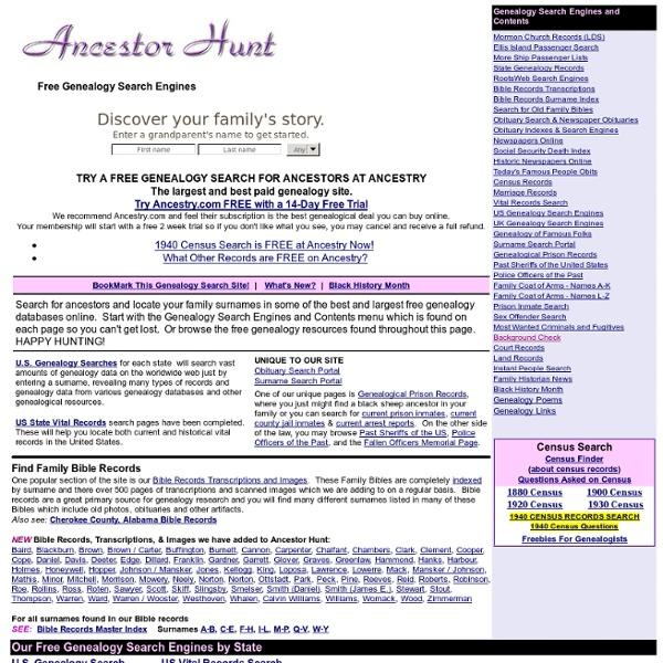 Ancestor Hunt - Free Genealogy Search Engines