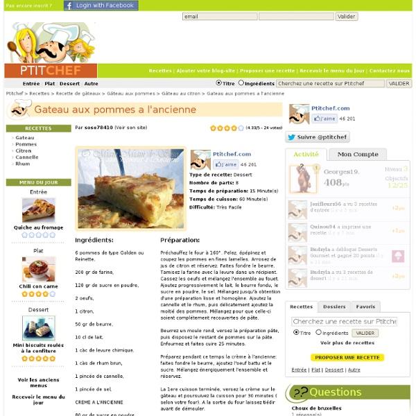 Recette Gateau aux pommes a l'ancienne, Très Facile, Dessert