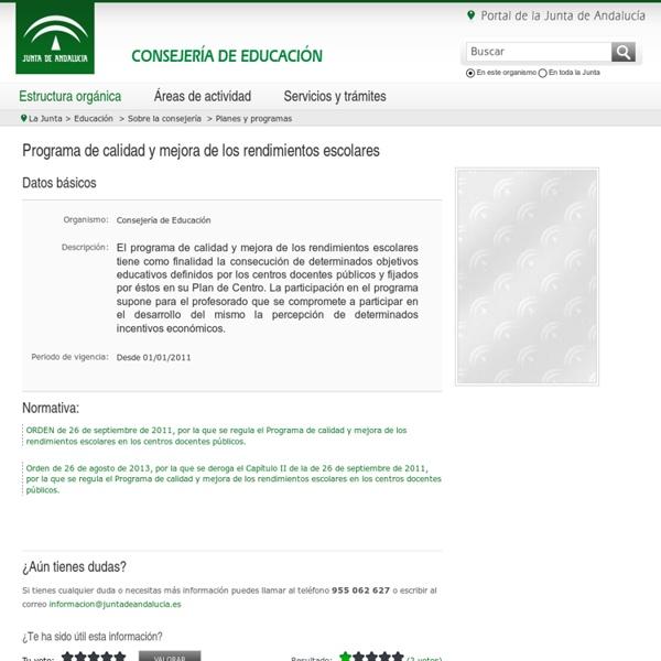 Junta de Andalucía - Programa de calidad y mejora de los rendimientos escolares