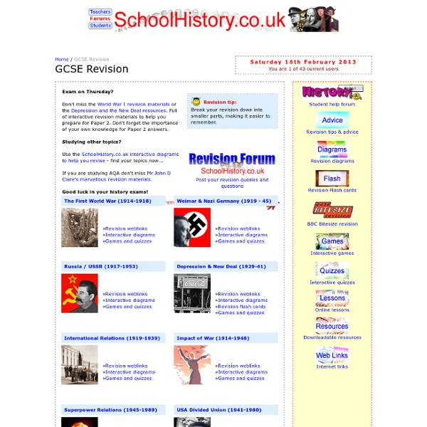 GCSE History Revision - online revision exercises, lessons, games andquizzes