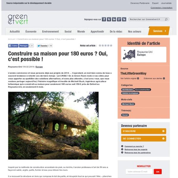 Un anglais a construit sa maison pour 180 euros