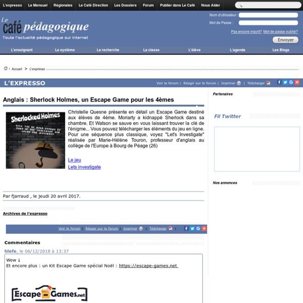 Anglais : Sherlock Holmes, un Escape Game pour les 4èmes