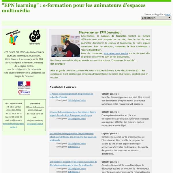 """""""EPN learning"""" : e-formation pour les animateurs d'espaces multimédia"""