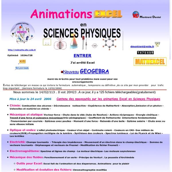 Animation EXCEL en Sciences Physiques(Daniel Mentrard)