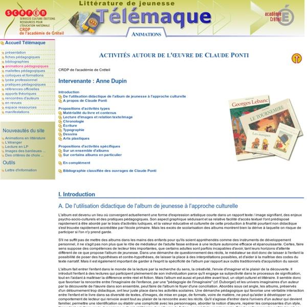 Animations pédagogiques - Activités autour de l'oeuvre de Claude Ponti