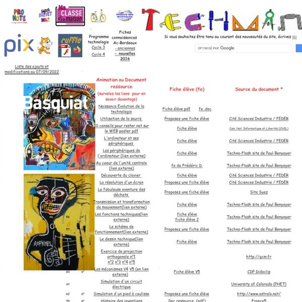 TechMania, Animations et documents pour la Technologie au Collège