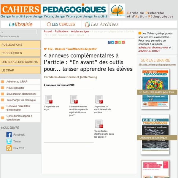"""4 annexes complémentaires à l'article : """"En avant"""" des outils pour... laisser (...)"""