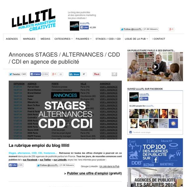 Annonces STAGES / ALTERNANCES / CDD / CDI en agence de publicité